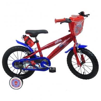 """14"""" Vaikiškas dviratis 2-4 ratų (iki 50kg, ūgis 95-115cm) Spiderman"""