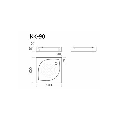 Akmens masės dušo padėklas KK-90, 90x90 cm, kvadratinis, baltas 2