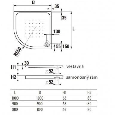 Deep Pusapvalis/kampinis dušo padėklas 80 x 80 x 8 cm, statomas, 550 mm spindulio, akrilinis, baltas 2