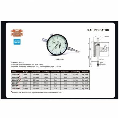 Indikatorius Insize (0-100 mm) 0,001 mm 3
