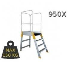 Kopėčios aliuminės, su darbine aikštele: 56x77cm FORTE, 6  pakopų