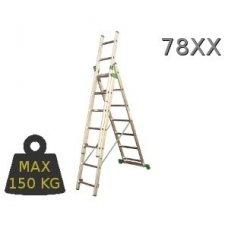 Kopėčios aliuminės universalios trijų dalių laiptams, 3 x 7 pakopos