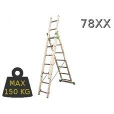 Kopėčios aliuminės universalios trijų dalių laiptams, 3 x 8  pakopos