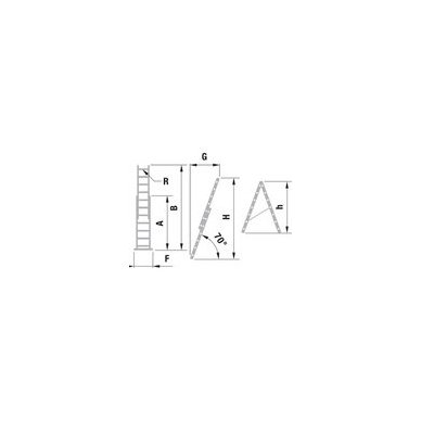 Kopėčios aliuminės, universalios, dvipusės, ištraukiamos 2 x 12 pakopų 2