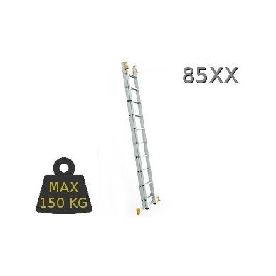Kopėčios aliuminės, universalios, dvipusės, ištraukiamos  2 x 8 pakopų