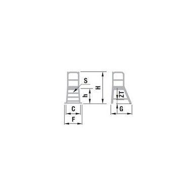 Kopėčios aliuminės, su darbine aikštele: 56x77cm FORTE, 6  pakopų 2