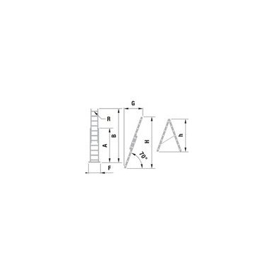 Kopėčios aliuminės universalios, dvipusės, ištraukiamos 2 x 13 pakopų 3