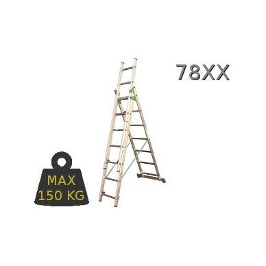 Kopėčios aliuminės universalios trijų dalių laiptams, 3 x 9 pakopos