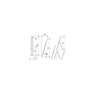 Kopėčios aliuminės universalios trijų dalių laiptams, 3 x 9 pakopos 3