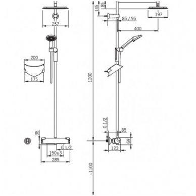 Lietaus dušo sistema OPTIMA su rankiniu dušu 2