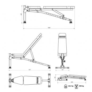 Reguliuojamas universalus treniruočių suoliukas Marbo MS-L114 6