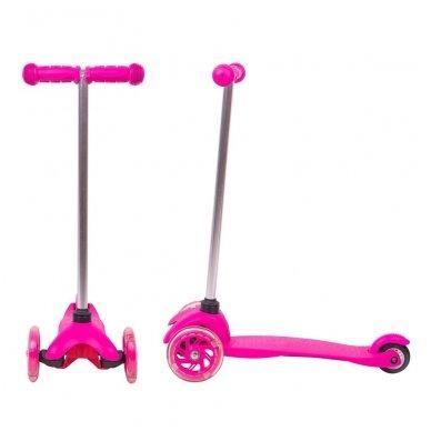Vaikiškas triratis paspirtukas su šviečiančiais ratukais nuo 4m. vaikams (iki 20kg) Worker Lucerino Pink 2