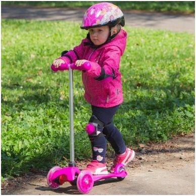 Vaikiškas triratis paspirtukas su šviečiančiais ratukais nuo 4m. vaikams (iki 20kg) Worker Lucerino Pink 3