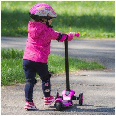 Vaikiškas triratis paspirtukas vaikams nuo1-3m. (iki 50kg) Worker Jaunsee Pink 15