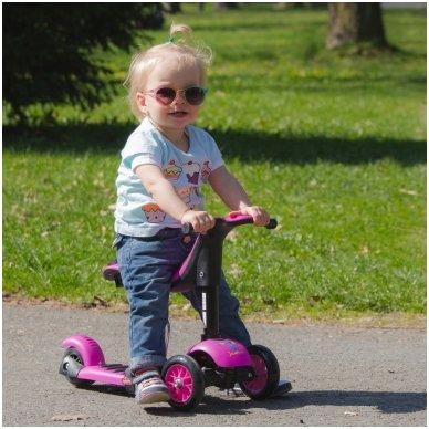 Vaikiškas triratis paspirtukas vaikams nuo1-3m. (iki 50kg) Worker Jaunsee Pink 10